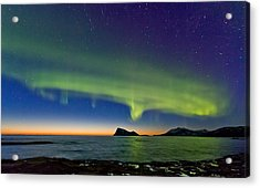 Sunset And Aurora Oval Acrylic Print by Frank Olsen