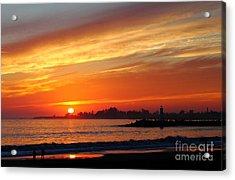 Sunset At Santa Cruz Harbor 1 Acrylic Print by Theresa Ramos-DuVon