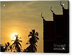 Sunset In The Tempel Acrylic Print by Michelle Meenawong
