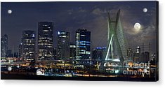 Supermoon In Sao Paulo - Brazil Skyline Acrylic Print