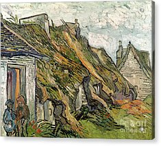 Thatched Cottages In Chaponval Acrylic Print by Vincent van Gogh
