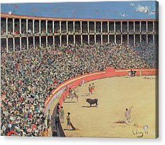 The Bullfight Acrylic Print by Ramon Casas i Carbo