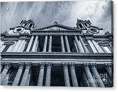The Columns Of St Paul's Cathedral West Facade From Ludgate Hil Acrylic Print