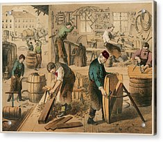 The Workshop Of A Cooper Or  Barrel Acrylic Print by Mary Evans Picture Library