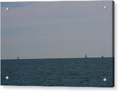 Acrylic Print featuring the photograph  Four Yachts At Sea by Phoenix De Vries