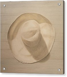 Travelling Hat On Dusty Table Acrylic Print