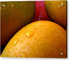 Acrylic Print featuring the photograph  Tres Mangoes by Greg Allore