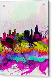 Tulsa Watercolor Skyline Acrylic Print by Naxart Studio
