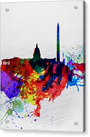 Washington Dc Watercolor Skyline 1 Acrylic Print by Naxart Studio