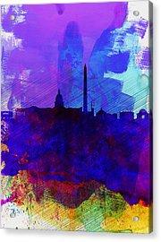 Washington Dc Watercolor Skyline 2 Acrylic Print by Naxart Studio