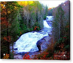 Acrylic Print featuring the photograph  Waterfall At Dupont Forest Nc 2 by Annie Zeno