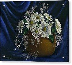 White Daisies In Blue Fabric Still Life Art Acrylic Print