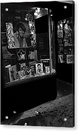 Acrylic Print featuring the photograph  Window Display Night Of Elvis Presley's Death Recordland Portland Maine  1977 by David Lee Guss