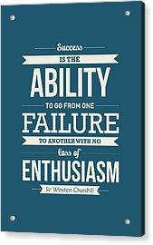 Winston Churchill British Politician Typography Quote Poster Acrylic Print
