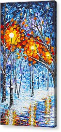 Silence Winter Night Light Reflections Original Palette Knife Painting Acrylic Print