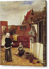 Woman And Maid In A Courtyard Acrylic Print by Pieter de Hooch