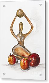Woman In The African Style  With Red Apples Acrylic Print by Irina Gromovaja