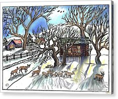 Wyoming Winter Street Scene Acrylic Print by Dawn Senior-Trask