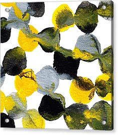 Yellow And Gray Interactions 1 Acrylic Print by Amy Vangsgard