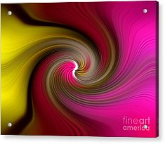 Yellow Into Pink Swirl Acrylic Print by Trena Mara