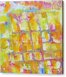 Acrylic Print featuring the painting  Yellow Puzzle by Nereida Rodriguez