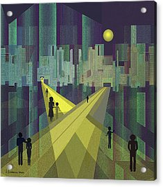 003 - Nightwalking  To A Distant City Acrylic Print by Irmgard Schoendorf Welch