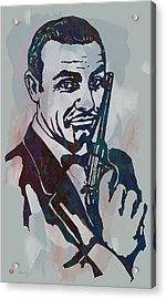 007 James Bond - Stylised Etching Pop Art Poster Acrylic Print by Kim Wang