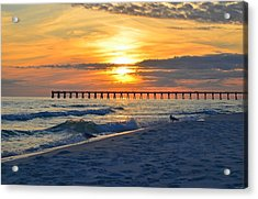 0108 Sunset Colors Over Navarre Pier On Navarre Beach With Gulls Acrylic Print by Jeff at JSJ Photography