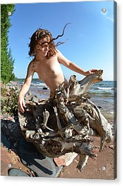 0114 Windswept Nude In Nature  Acrylic Print