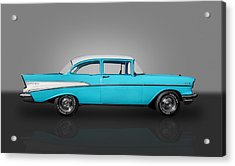 1957 Chevrolet 2 Door Post Acrylic Print by Frank J Benz