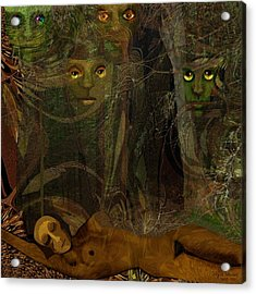 026  - Some Are Forever Sleeping In The Woods Acrylic Print by Irmgard Schoendorf Welch
