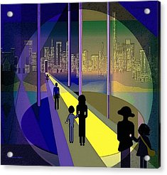070 - Nightwalking To The Golden City    Acrylic Print by Irmgard Schoendorf Welch
