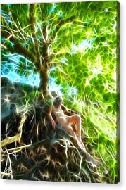 0789 Abstract Figure Energy Nude In Nature Under Tree Acrylic Print