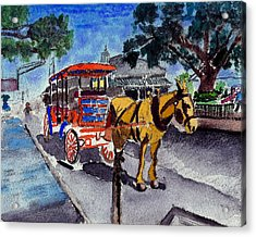 090514 New Orleans Carriages Watercolor Acrylic Print by Garland Oldham