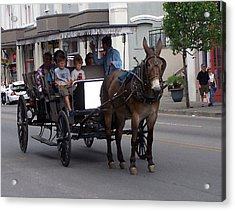 091114 Digital Dry Brush  New Orleans Carriages Acrylic Print by Garland Oldham