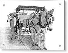 091614 Pen Drawing Carriages French Quarter Acrylic Print by Garland Oldham
