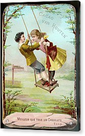 A Boy And A Girl Swing  Together Acrylic Print by Mary Evans Picture Library