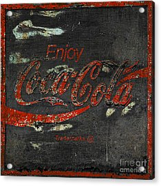 Coca Cola Sign Grungy  Acrylic Print by John Stephens