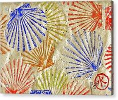 Gyotaku Scallops - Bivalvify - Seafood Melody Acrylic Print