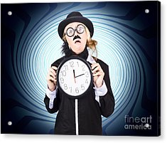Nutty Professor With Clock. Crazy Science Time Acrylic Print by Jorgo Photography - Wall Art Gallery