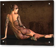 Tattooed Nude 4 Acrylic Print by Kaylee Mason