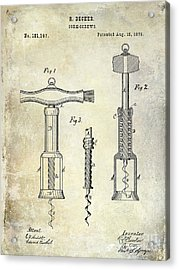 1876 Corkscrew Patent Drawing Acrylic Print by Jon Neidert