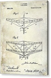 1909 Flying Machine Patent Drawing  Acrylic Print