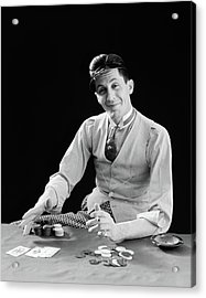 1910s 1920s Character Man Gambler Card Acrylic Print