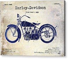 1928 Harley Davidson Patent Drawing 2 Tone Blue Acrylic Print
