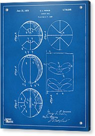 1929 Basketball Patent Artwork - Blueprint Acrylic Print by Nikki Marie Smith