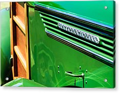 1937 International D-2 Station Wagon Side Emblem Acrylic Print by Jill Reger
