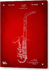 1937 Saxophone Patent Artwork - Red Acrylic Print by Nikki Marie Smith