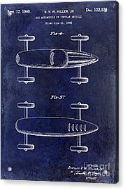 1940 Toy Car Patent Drawing Blue Acrylic Print