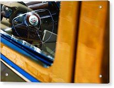 1950 Ford Custom Deluxe Woodie Station Wagon Steering Wheel Emblem Acrylic Print by Jill Reger